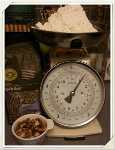 Spelt flour and walnuts
